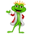 Cute king frog cartoon with presenting vector image
