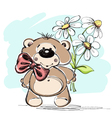 Nice little bear and a bouquet of flowers vector image