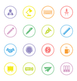 colorful flat icon set 8 with circle frame vector image