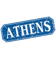 Athens blue square grunge retro style sign vector image