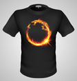 t shirts Black Fire Print man 29 vector image