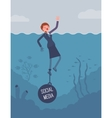 Businesswoman drowning chained with a weight vector image