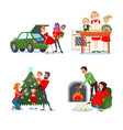 christmas family scenes couple with gift boxes vector image