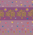 flowers trees suns and birds vector image