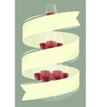 Glass tower of wine with banner vector image