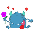 Happy Blue Monster Holding A Flower vector image vector image