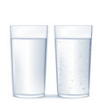 glass of water and sparkling water vector image