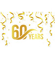 isolated golden color number 60 with word years vector image