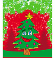 funny christmas tree card vector image vector image