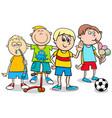 kid boys with toys cartoon vector image