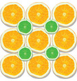 lemon and orange slices on white background vector image
