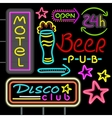 Neon Signboard Disco Club Beer Pub Design Flat vector image