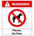 no pet allowed sign no dogs vector image
