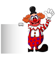 cute clown cartoon with blank sign vector image vector image