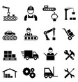 factory and manufacturing industry icons vector image