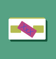 flat icon design videocassette and xxx in sticker vector image vector image