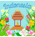 Indonesian pagoda with a statue of Buddha on a bac vector image vector image