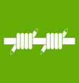 barbed wire icon green vector image