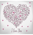 Greeting card with floral heart shape I love You vector image