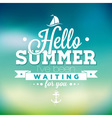 Hello Summer ive been waiting for you inspiration vector image