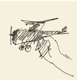 Sketch child holding toy airplane vector image
