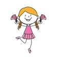 Girl cartoon cheerleader kid happy isolated design vector image