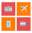 set of airport flat icons signs and symbol vector image