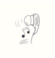 Sketched earphone with music desktop icon vector image