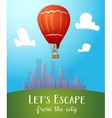 Aeronautics hot air balloon flying over cityline vector image