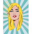 beautiful retro girl in image of an elf blue dot vector image