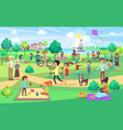 big green park with people of all ages on nice day vector image