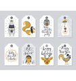 Christmas tags set hand drawn style vector image