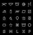 Cloth care sign and symbol line icons on black vector image