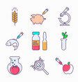 collection of genetic modification icons gmo vector image