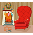 Color retro room with fireplace and big soft chair vector image