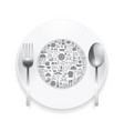 Flat Icons plate foods concept vector image