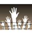 hands behind a barbed wire prison vector image