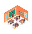 school room with teacher and children at desks vector image