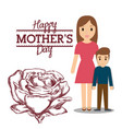 happy mothers day mom with son and flower vector image