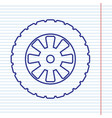 road tire sign  navy line icon on notebook vector image