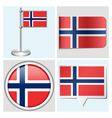 Norway flag - sticker button label flagstaff vector image vector image