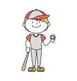 boy cartoon baseball happy isolated design vector image