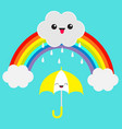 rainbow cute cartoon kawaii cloud with rain drops vector image