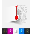 shovel paper sticker with hand drawn elements vector image