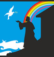 noah sees a pigeon with an olive branch vector image