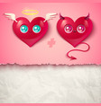 two hearts for valentines day vector image vector image