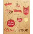 Set Wine chalk Kraft vector image vector image