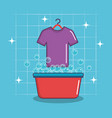 Laundry basin soap tshirt bubbles clean vector image