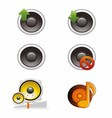 Set of Speaker and Volume Icons vector image
