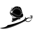 gladiators helmet and sword vector image